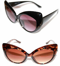 Women's Cat Eye Sunglasses Rockabilly Large Frame Pinup Black Or Brown Retro 50s