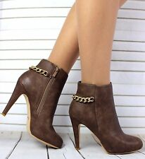 LADIES KHAKI LEATHER LOOK GOLD CHAIN ANKLE STILETTO HEEL ZIP BOOTS BOOTIES SIZE