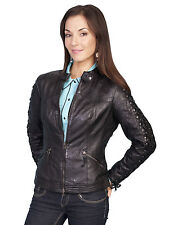Scully Leather Womens Lace Up Sleeves Lamb Skin Motorcycle Jacket Black