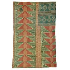 Reversible Vintage Kantha Quilt Bedcover Ralli Bangali Beautiful Throw Gudri