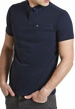 Mens Weekend Offender Roding Navy Blue Collared Short Sleeve Pique Polo T Shirt