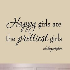 Happy Girls are the Prettiest Girls Wall Decal Audrey Hepburn Quotes VWAQ-1220
