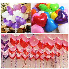 "100pcs 12"" Heart Shaped Latex Balloons Wedding Birthday Party Decoration 8Colors"