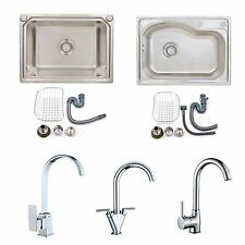 Stainless Steel Kitchen Sink 1.0 Bowl Small Square & Kitchen Mixer Tap & Waste