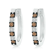 coffee & White Round Natural Diamond Hoop Earrings in 14k White Gold