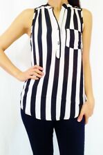 Button Down Sleeveless Top with Black & White Vertical Stripes and Button Back!
