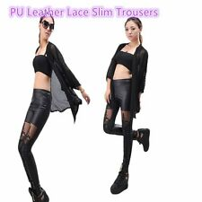 Female PU Leather Lace Embroidered Stretchy Leggings High Elasticity CG