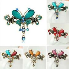 Girls Rhinestone Bow Knot Retro Hair Clip Hairpin  Crystal Butterfly