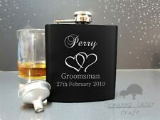 6oz Black personalised Hip Flask.groom party gift with box choice bf17