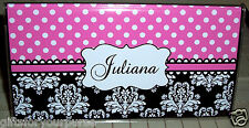 Personalized PINK AND WHITE dots DAMASK Checkbook Cover FREE SHIPPING
