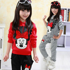 2Pcs set Baby Girls Minnie Mouse Hoodie Tops + Pants Set Kids Clothes Tracksuits