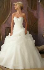 2017 Organza White/Ivory Wedding Bridal Gown Dress Stock Size 6 8 10 12 14 16