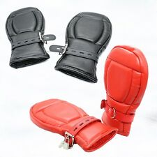 New  Leather Bondage Padded Lined Locking Fist Mitts Gloves Restraint Mittens-T