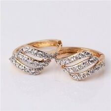 Gold Platinum Plated Hoop Earrings Round Crystal Cubic Zircon Wedding Jewelry