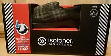Isotoner A9B928 Black Plaid & Microsuede Ashton Memory Foam Closed Back Slippers