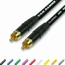Gold RCA to RCA audio cable. Phono Phono Lead. Van Damme Sub Woofer Long 3m, 10m