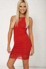 Ladies Nifty Red Sleeveless Dress With Lace Fabric - Womens Evening Party Dress