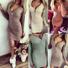 Womens Lady Bodycon V Neck Long Sleeve Party Evening Cocktail Jumper Mini Dress