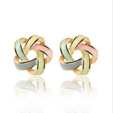 Fashion Lady Chic Cute Shimmer Colorful Gold Plated Ear Girls Stud Earrings