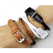 Women Wristband Korean PU Leather Weaved Double Wrap Bracelet Belt Style
