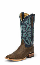 Justin Mens Dark Tan Full Quill Ostrich Western Boots Oiled