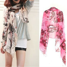 New Ladies Shawl Begonia Flower Ink Style Long Chiffon Pashmina Shawl Wrap Scarf