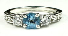 London Blue Topaz w/CZ Accents, 925 Sterling Silver Ladies Ring, SR254-Handmade
