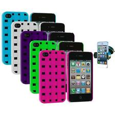 Basket Weave Hard Snap-On Rubberized Case+Windshield Mount for iPhone 4 4S 4G