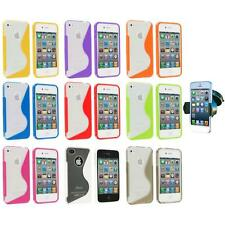 TPU Clear S-Shape S-Line Rubber Case Cover+Windshield Mount for iPhone 4S 4G 4