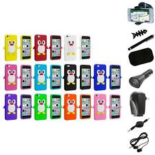 For Apple iPhone 5C Penguin Case Silicone Cute Soft Gel Skin Cover+8X Accessory