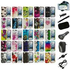 Flower Design Hard Rubberized Case Cover+8X Accessory for iPod Touch 5th Gen 5G