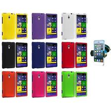For HTC Windows Phone 8XT Color Hard Snap-On Rubberized Case Cover+Car 360 Mount
