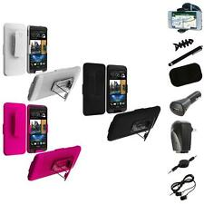 Color Hard Slide Snap-On Case Cover Holster Stand+8X Accessory for HTC One M7