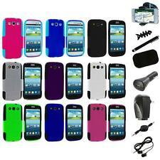 Color Hybrid Mesh Hard Soft Case Cover+8X Accessory for Samsung Galaxy S3 S III