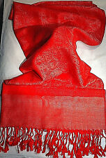 Ladies Red Tone on Tone Paisley Scarf Breast Cancer Awareness  (S2)