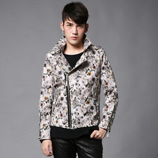 Mens Jackets Motorcycle Leather Oblique Zipper PU Print Casual Coats Jacket Tops