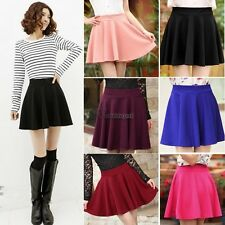 New Women Mini Flared Skirt Candy Color Stretch Waist Plain Pleated dress WT88