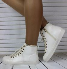 Ladies White Patent Hi Top Trainers Sneakers Ankle Boots Shoes Size 5