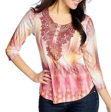 NEW - One World Printed Knit 3/4 Sleeved Lace Detail Henley Top