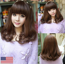 New Fashion Women Lady Medium Curly Synthetic Hair Cosplay Party Wavy Full Wig
