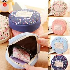 Womens Small Wallet Canvas Coin Bag  Flower Round Purse