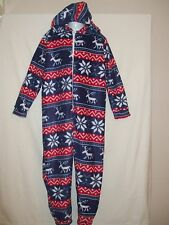 Girls and Boys Fleecy Blue, Red and white Reindeer Onesie - 9-10 Years