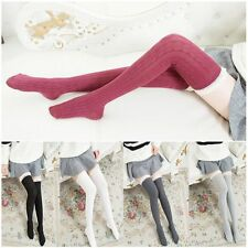 Long Warm Women Stockings Knit Lace Socks Over Knee Tigh High