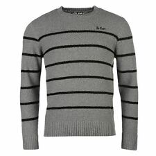 Lee Cooper Stripe Jumper Mens Grey/Black Sweater Pullover Top