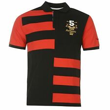 Pierre Cardin Contrasting Stripe Polo Shirt Mens Black/Red Top T-Shirt Tee