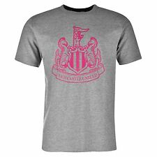 Newcastle United FC Large Crest T-Shirt Mens Grey Marl/Pink EPL Football Soccer