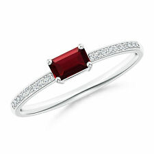 Emerald Cut Natural Garnet Solitaire Ring with Diamond in 14k Solid Gold Size 6