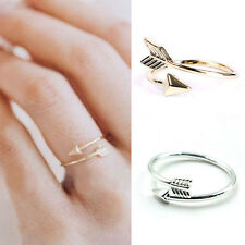 WOMEN GIRL RINGS GOLD SILVER ADJUSTABLE ARROW OPEN KNUCKLE RING JEWELRY DURABLE