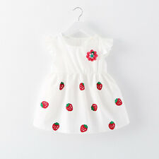 2017 Baby Girl Newborn Toddler Infant Strawberry Flower White Dress Summer Dress