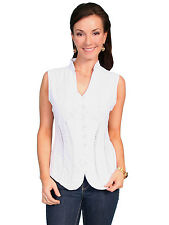 Scully Cantina Womens White 100% Cotton Sleeveless Soutache Blouse